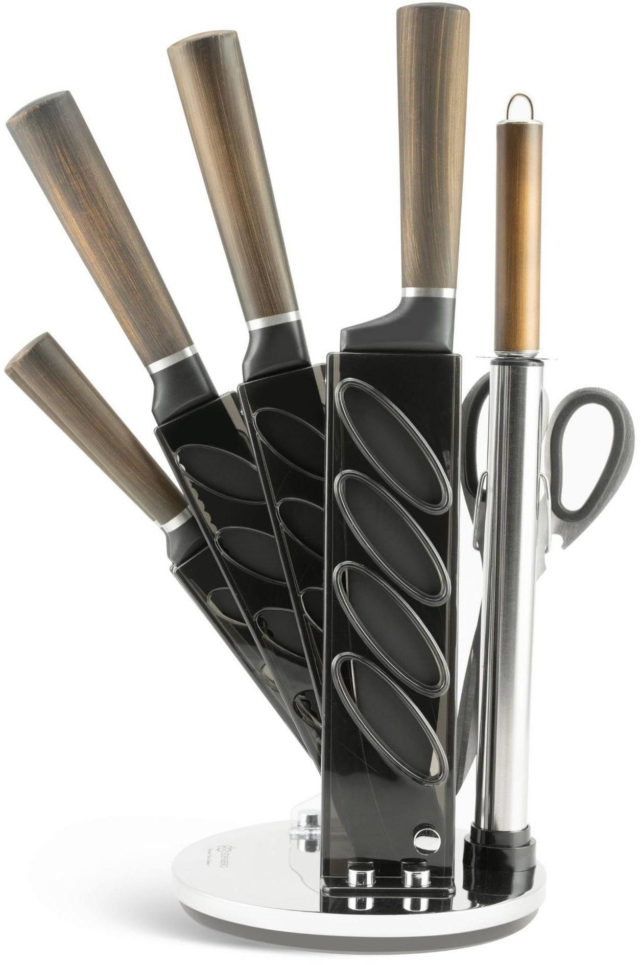 Zestaw noży z nożyczkami w obrotowym stojaku Edenberg