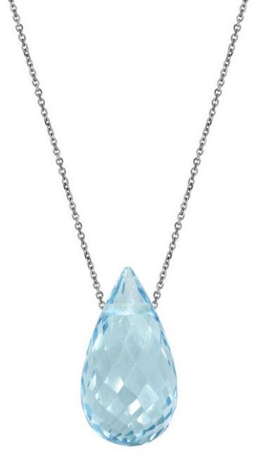 Srebrny naszyjnik 925 łańcuszek ankier z łezką Topaz Sky blue
