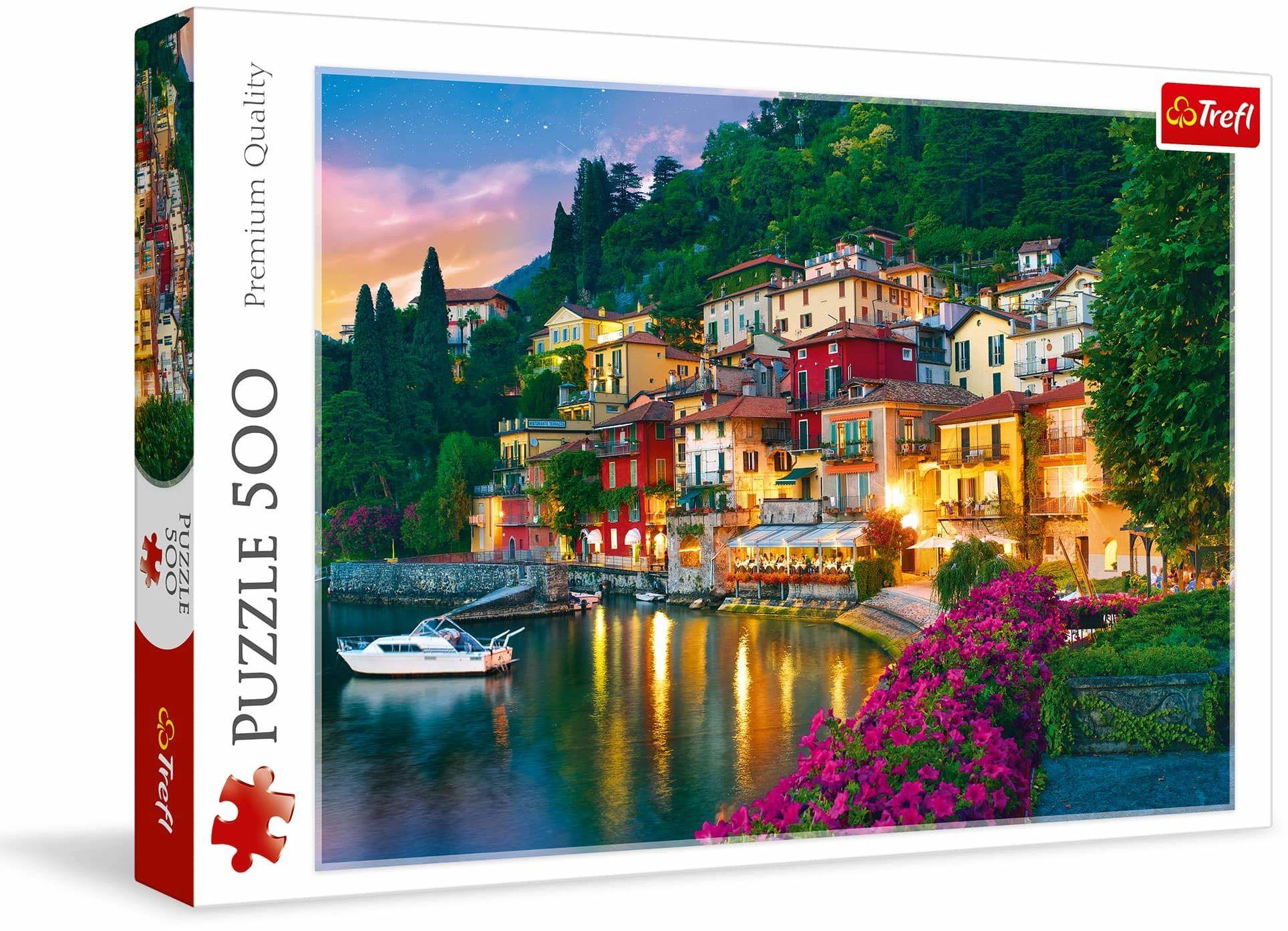 Trefl Jezioro Como, Włochy Puzzle 500 Elementów o Wysokiej Jakości Nadruku dla Dorosłych i Dzieci od 10 lat
