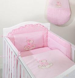 MAMO-TATO Ochraniacz do łóżeczka 60x120 Śpioch na chmurce w różu - PROMOCJA