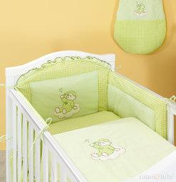 MAMO-TATO Ochraniacz do łóżeczka 60x120 Śpioch na chmurce w zieleni - PROMOCJA