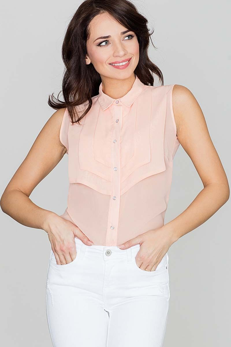 Koszulowa różowa bluzka bez rękawów z ozdobnym karczkiem