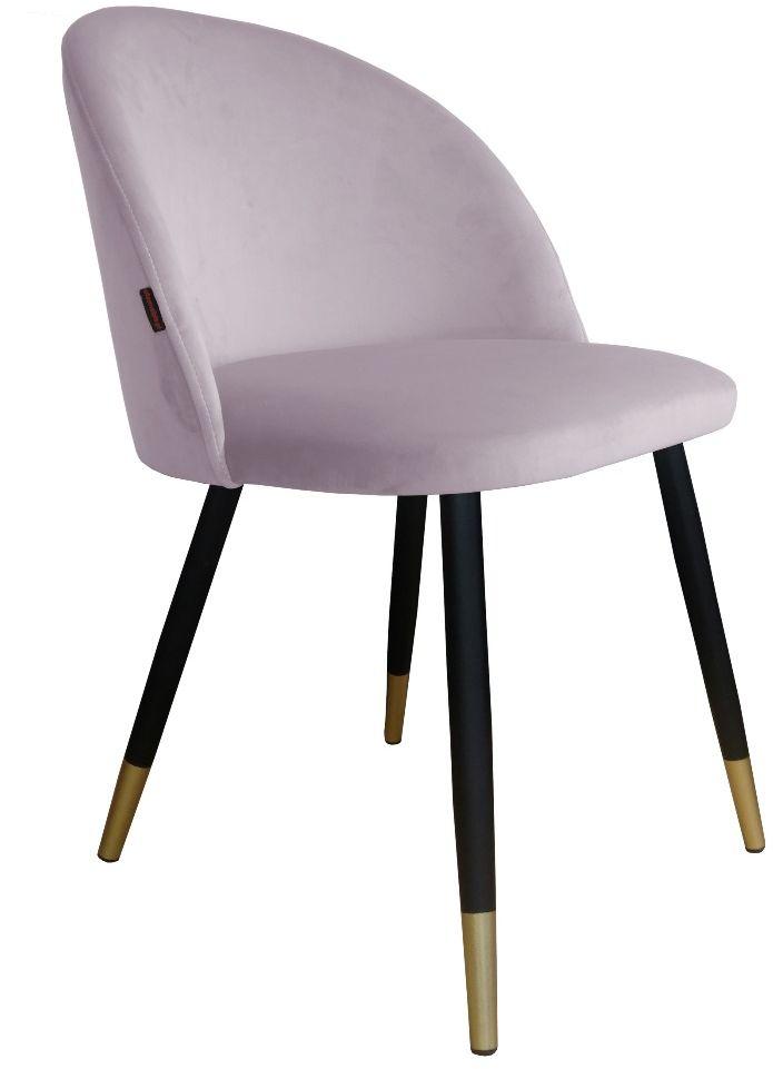 Krzesło CLAUDINE 1 VELVET GOLD jasno różowe