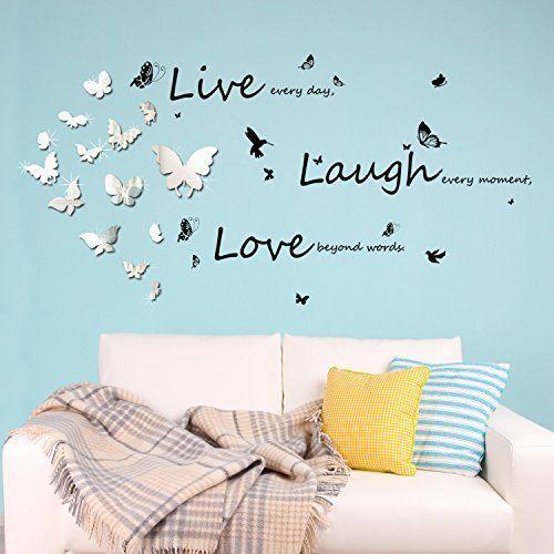 Walplus C2WW002000 - WSM2057 14 lustrzane motyle Plus WS4011 Vivid Live Laugh Love sztuka ścienna murale żłobek biuro dekoracja domu
