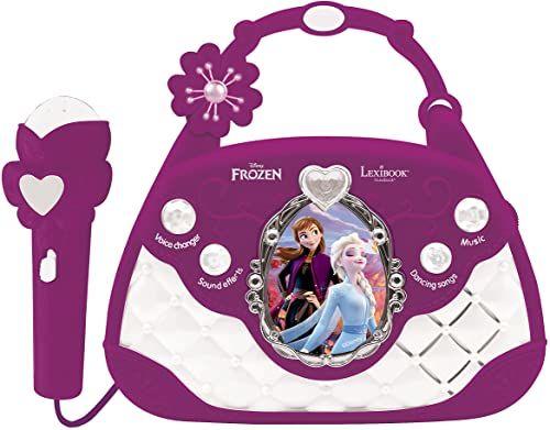 Lexibook K102FZ Disney Frozen Elsa głośnik muzyczny z mikrofonem, zmieniacz głosu, piosenki demo, wtyczka MP3, fioletowy/biały