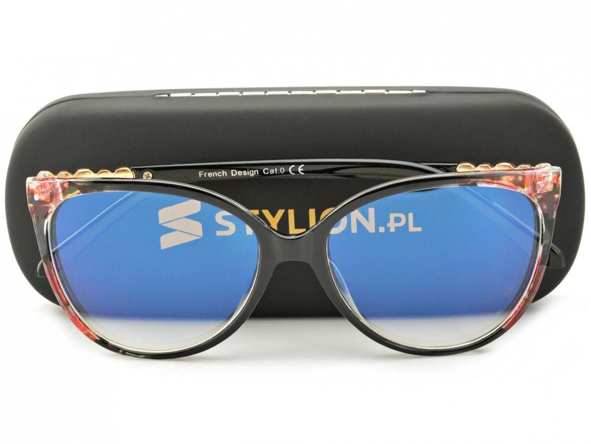 Okulary Kocie Oczy Korekcyjne z Antyrefleksem Zerówki POL-BLF-720AK