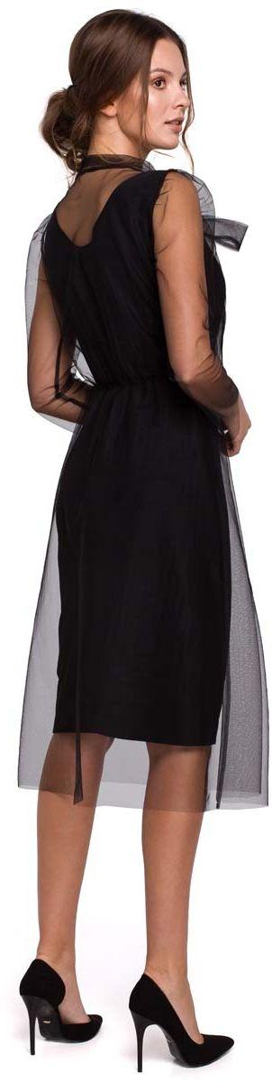 Czarna elegancka sukienka z tiulem