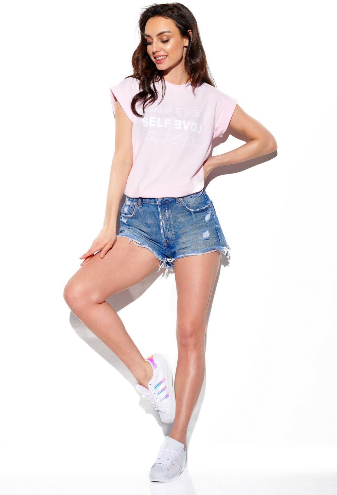 T-shirt Self love LG525 pudrowy róż