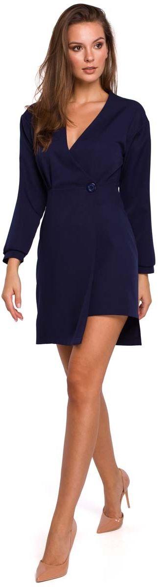 Atramentowa asymetryczna sukienka kopertowa