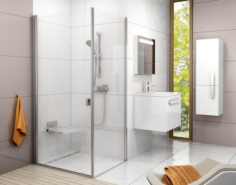 Kabina prysznicowa prostokątna Ravak Chrome drzwi 80x ścianka 90 cm CRV1+CPS , wys. 195 cm, Biały+Transparent 1QV40101Z1/9QV70100Z1