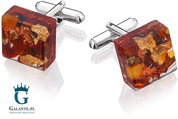 Srebrne spinki do mankietów z bursztynem i złotymi płatkami smb-002