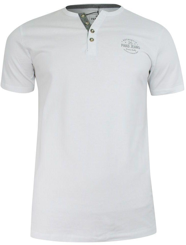 T-shirt Bawełniany, Biały z Nadrukiem, Męski, Krótki Rękaw, Dekolt z Guzikami -PAKO JEANS TSPJNSPORTbi
