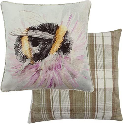 Evans Lichfield Poduszka wypełniona akwarelą pszczołą piórem, wielokolorowa, 43 x 43 cm