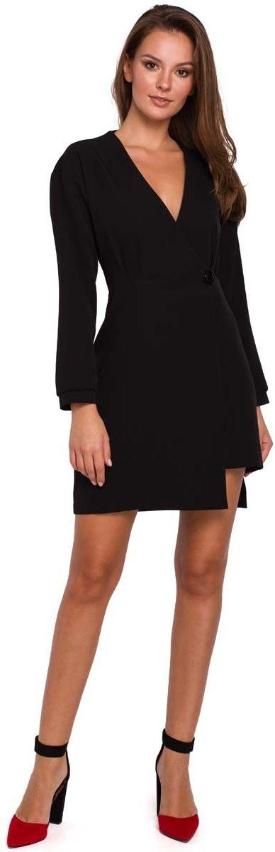 Czarna asymetryczna sukienka kopertowa