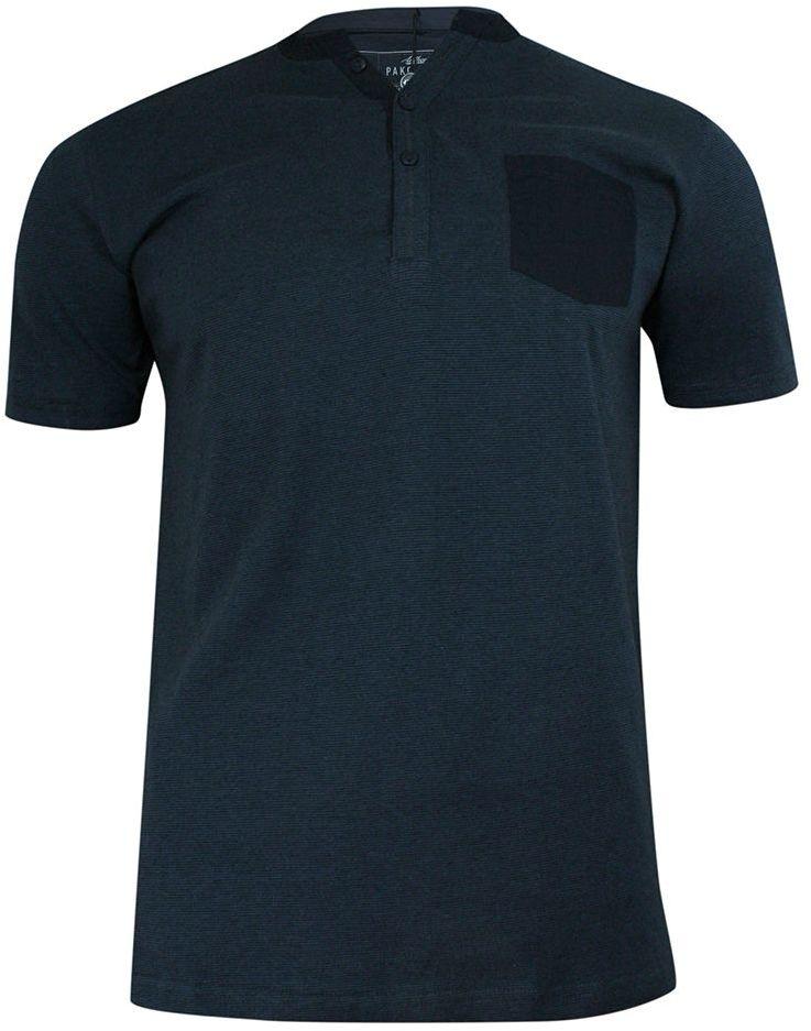 T-shirt Bawełniany, Granatowy w Paski z Kieszonką, Krótki Rękaw, Dekolt z Guzikami -PAKO JEANS TSPJNSONLINEgr