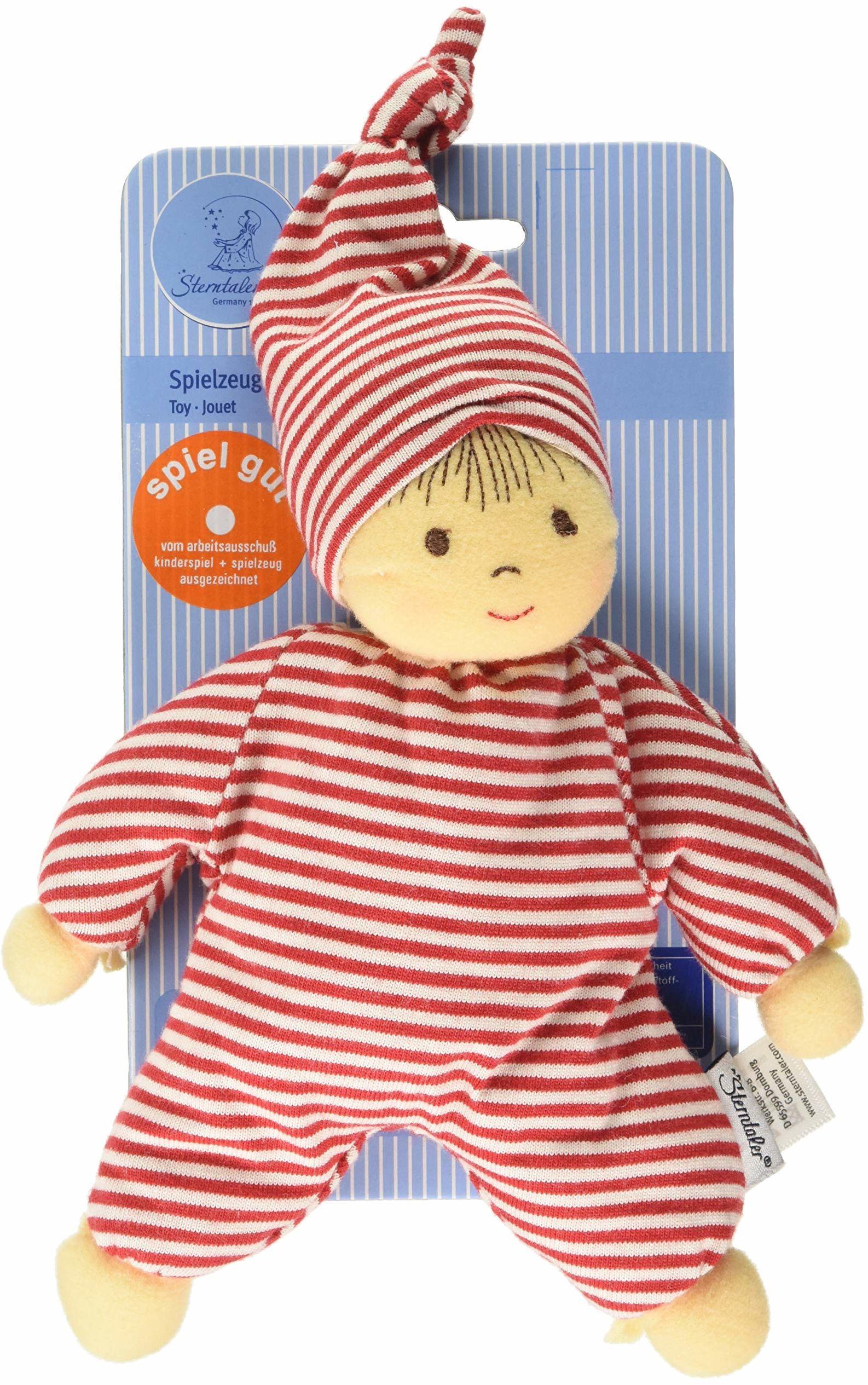 Sterntaler 3015034 lalka Heiko, zintegrowana grzechotka, wiek: dla dzieci od urodzenia, 23 cm, czerwony/biały