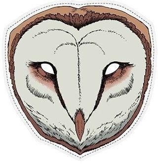 Maska papierowa Sowa Płomykówka 22 x 23 cm 1szt masp5