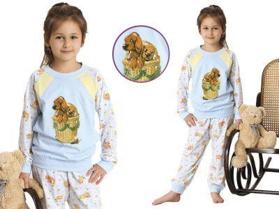 Piżama dziecięca JULKA: błękit/pomarańcz