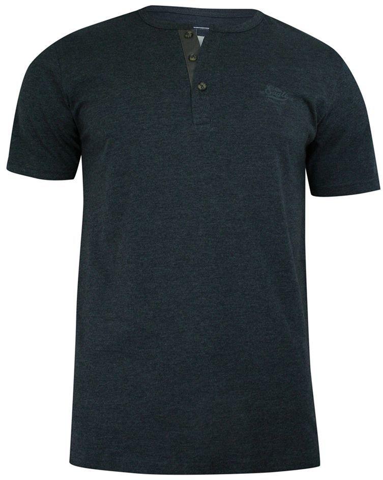 T-shirt Granatowy z Guzikami przy Kołnierzyku, Bawełniany, z Nadrukiem, Krótki Rękaw -PAKO JEANS TSPJNSBUZZgr