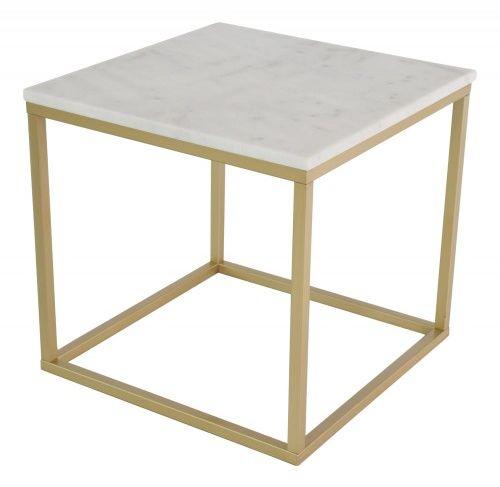 Stolik marmurowy Accent kwadratowy złoty mat