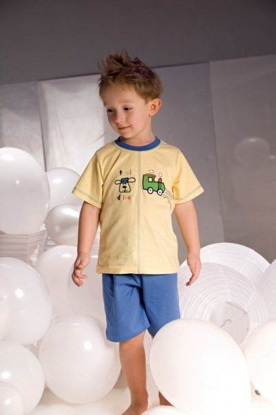 Piccolo meva samuel 2973 żółto-niebieska piżama chłopięca
