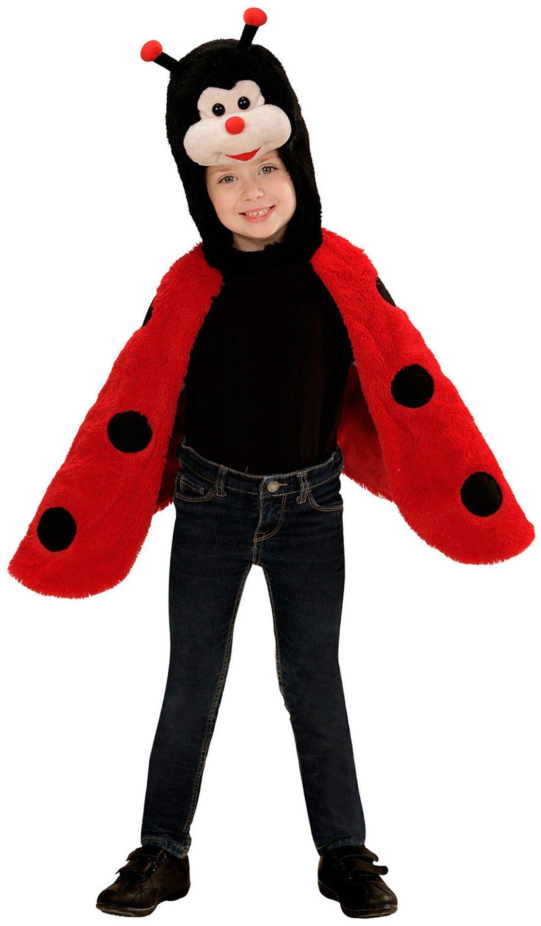 Widmann 97434 kostium dziecięcy biedronka z pluszu, peleryna z kapturem i maską