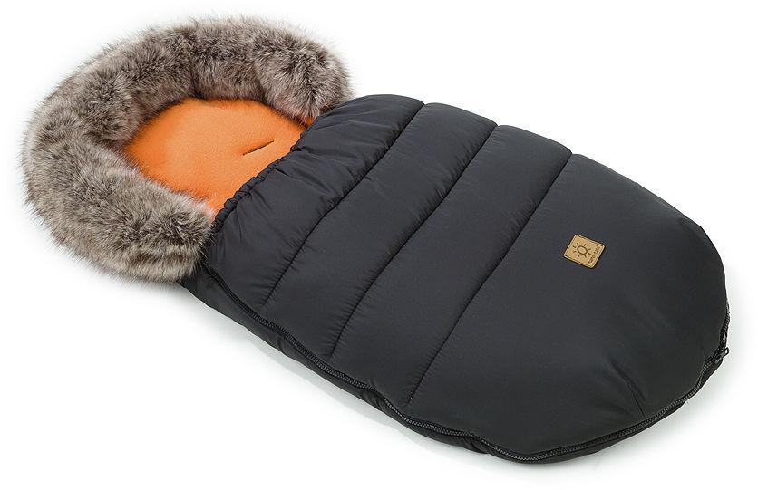 MAMO-TATO Zimowy śpiwór do wózka - Czarny / cegiełka