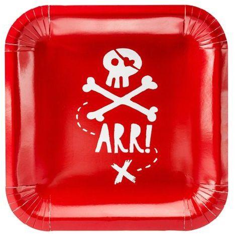 Talerzyki papierowe Piraci czerwone 20x20cm 6 sztuk TPP15-007