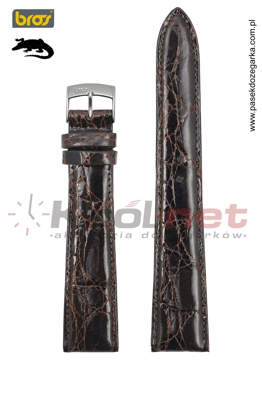 Pasek do zegarka Bros 0907/21/16 - krokodyl, ciemny brąz, long