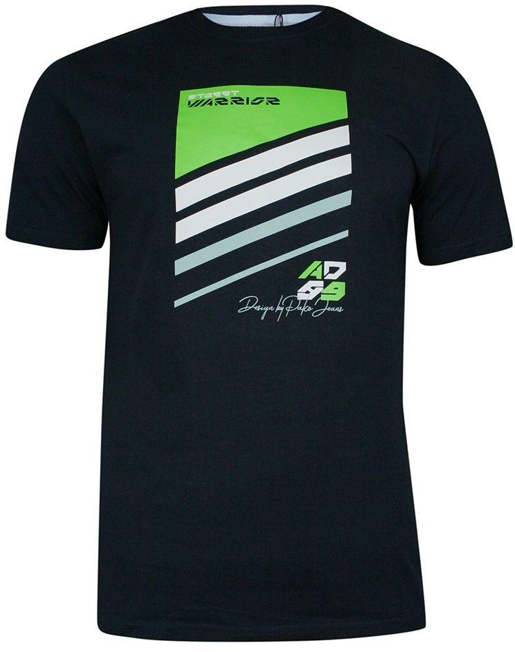 Granatowy T-shirt Bawełniany, z Nadrukiem, Męski, Krótki Rękaw, U-neck -PAKO JEANS TSPJNS8STREETgr