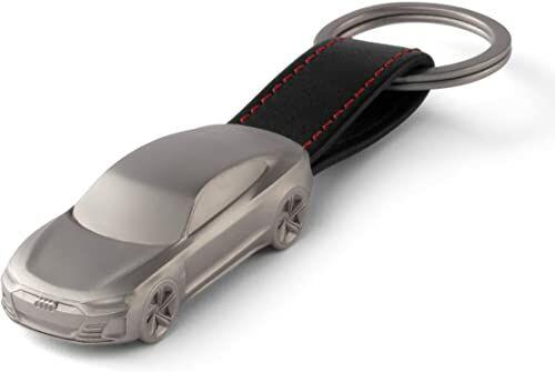 Audi 3182100100 breloczek do kluczy e-tron GT rzeźba stal szlachetna zawieszka Keyring miniaturowy, czarny/srebrny