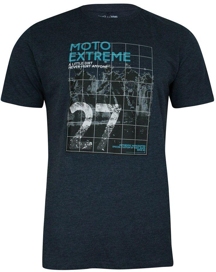 T-shirt Bawełniany, z Nadrukiem, Granatowy, Krótki Rękaw, U-neck -PAKO JEANS- Męski TSPJNS7MOTOgr