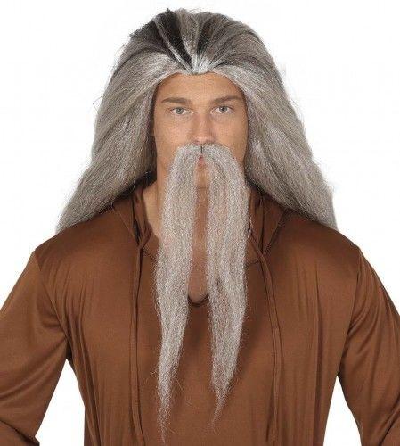 Peruka męska z wąsami, siwe włosy