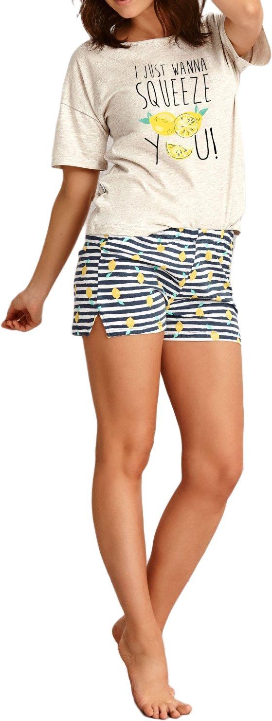 Bawełniana piżama damska TARO 2495 Lemon beżowa