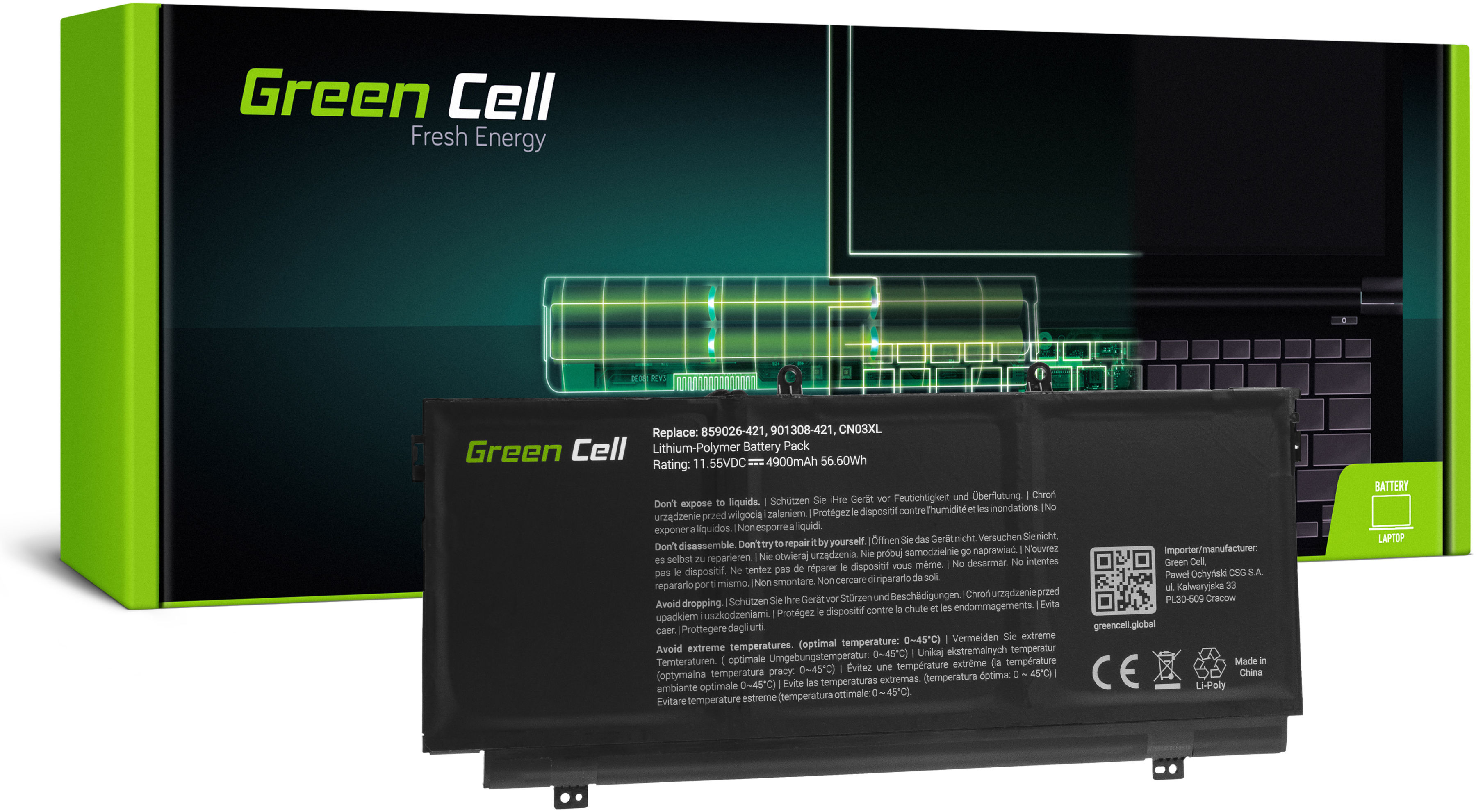 Bateria Green Cell CN03XL HSTNN-LB7L do HP Envy 13-AB 13-AB000NW 13-AB003NW 13-AB005NW