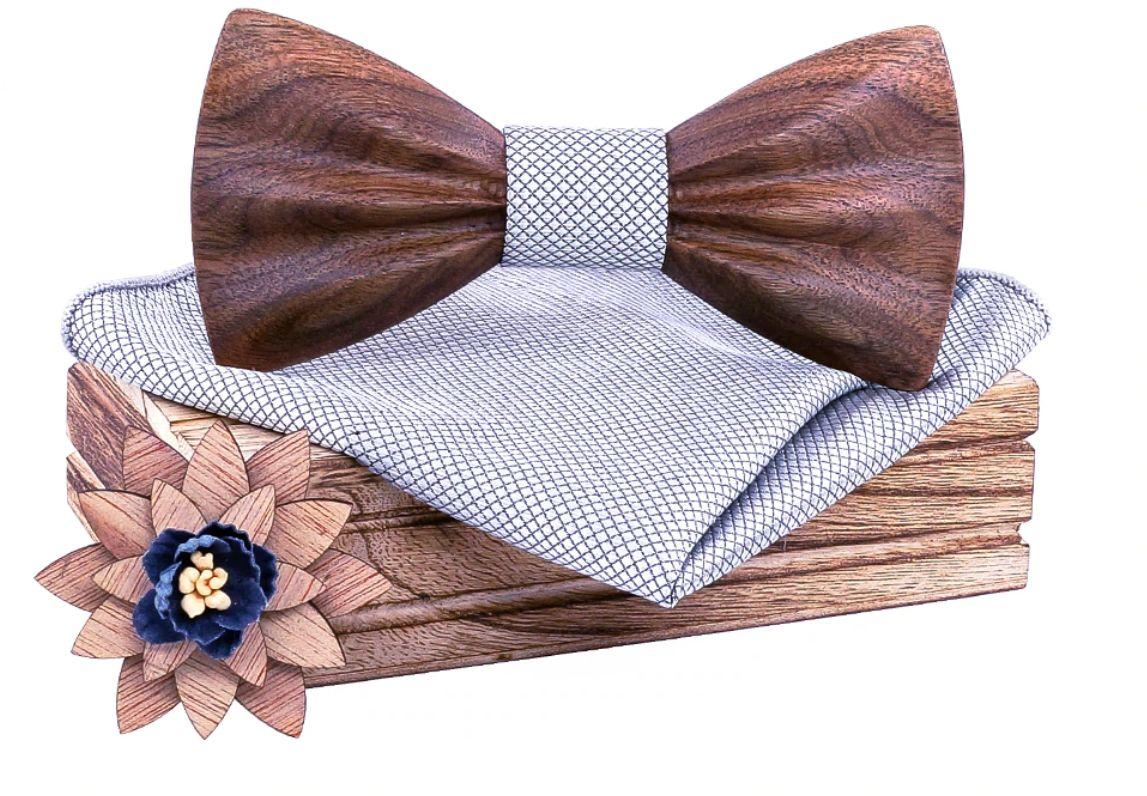 Komplet Niwatch A02: drewniana muszka + poszetka + broszka