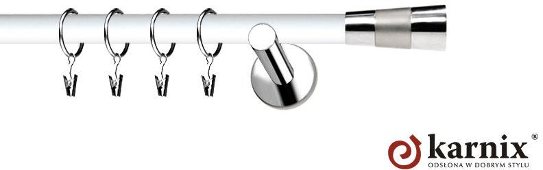 Karnisze Nowoczesne NEO Prestige pojedynczy 19mm Doris INOX - biały