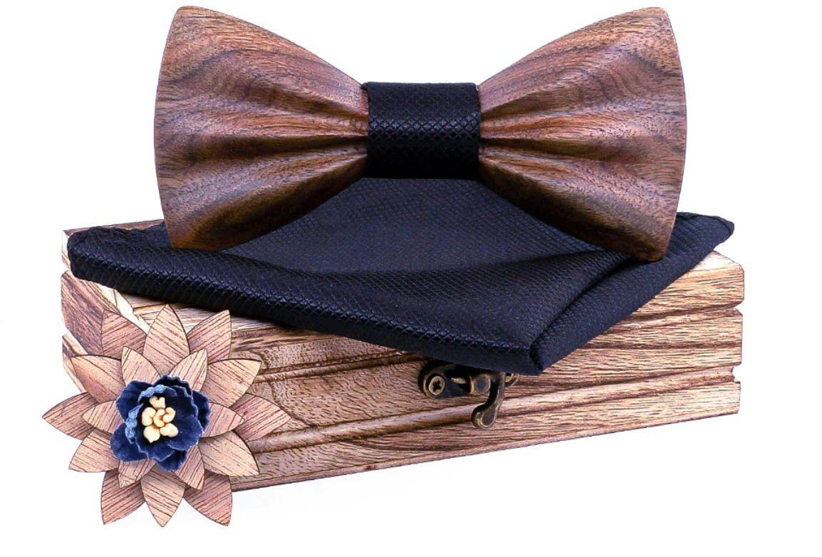 Komplet Niwatch A03: drewniana muszka + poszetka + broszka