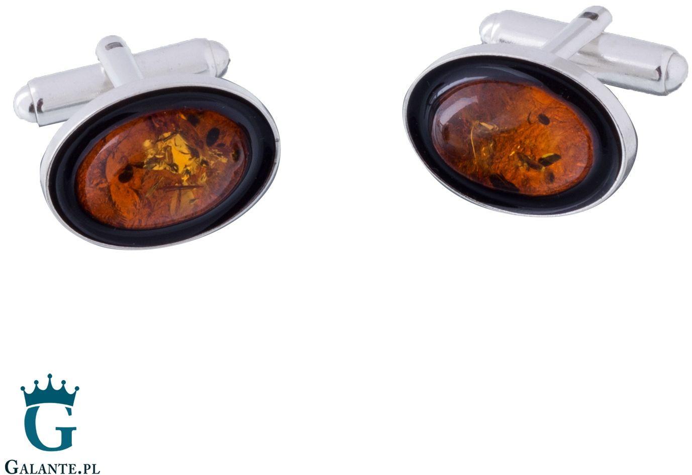 Srebrne spinki do mankietów węgiel i bursztyn smw-020