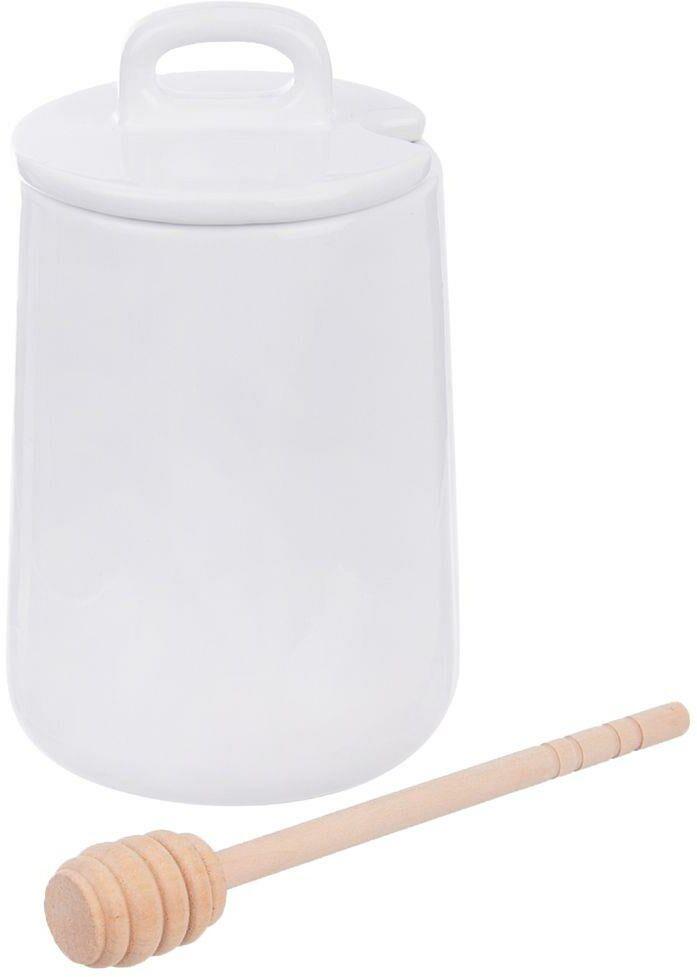 Pojemnik porcelanowy na miód do miodu z pokrywką i łyżeczką pałką 470 ml