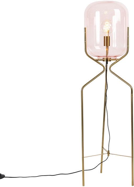 QAZQA Lampa podłogowa art deco mosiądz różowe szkło - Bliss
