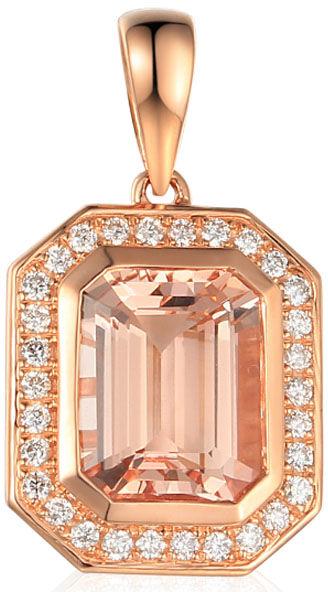 Złota elegancka przywieszka 585 z brylantami morganit
