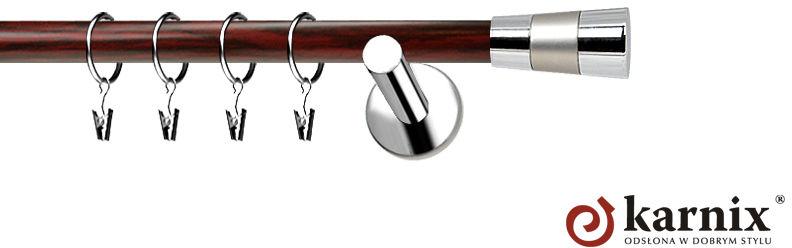 Karnisze Nowoczesne NEO Prestige pojedynczy 19mm Doris INOX - mahoń