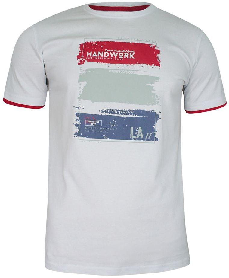 T-shirt Biały Bawełniany, z Nadrukiem, Męski, Krótki Rękaw, U-neck -PAKO JEANS TSPJNS2WORKbi