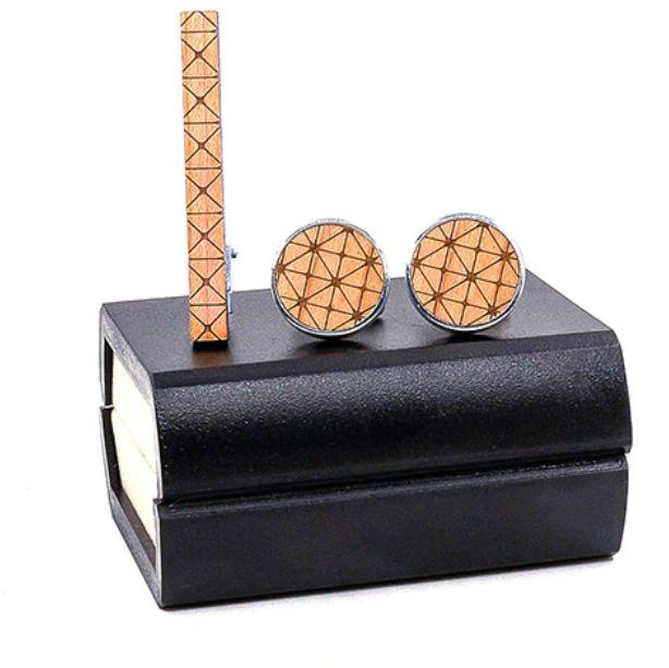 Komplet spinek drewnianych do mankietów i krawata Z01