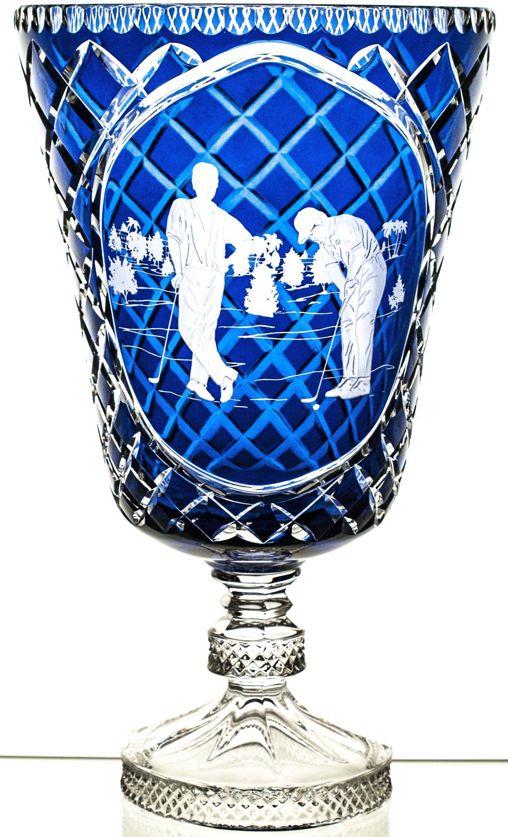 Wazon puchar kolorowy kryształowy grawer golf 08146