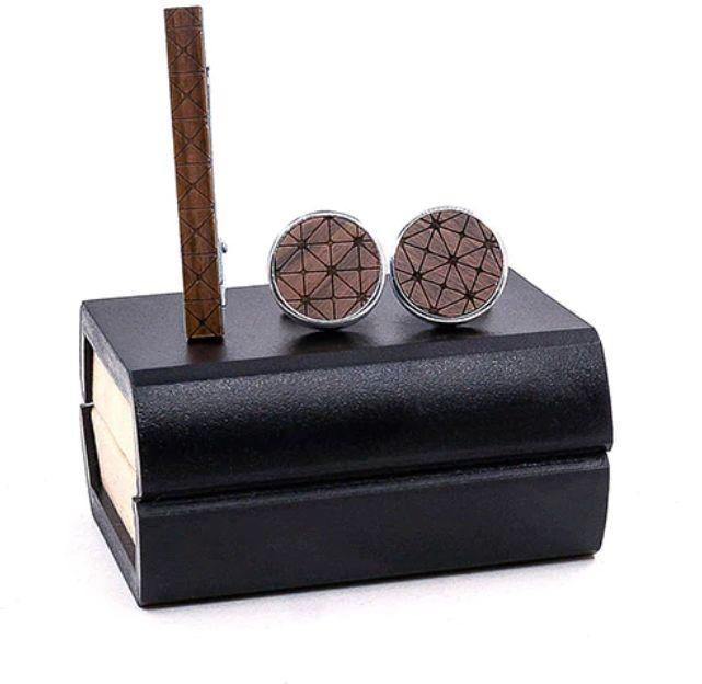 Komplet spinek drewnianych do mankietów i krawata Z02
