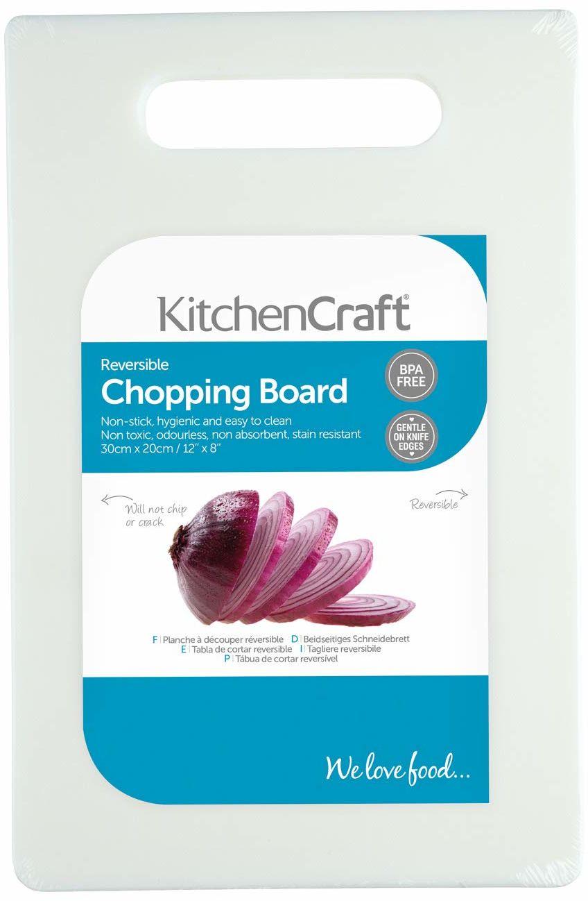 KitchenCraft średnia nietoksyczna plastikowa deska do krojenia 30 x 20 cm (12 x 8 cali) - biała