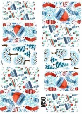Naklejki świąteczne na paznokcie M50