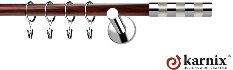 Karnisze Nowoczesne NEO Prestige pojedynczy 19mm Etiuda INOX - mahoń